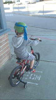 hudson on bike